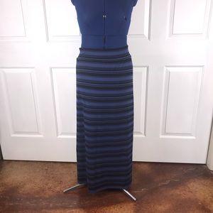 Ava & Viv 1X blue/black striped maxi skirt